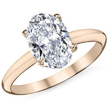 2.26 CTW 14k Rose Gold Oval Cut Moissanite 4 Prong Solitaire Engagement Ring - $806.71