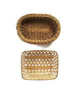 Woven Wicker Baskets Lot of 2 Wall Decor Basket Wall Oval Rectangular - $14.84