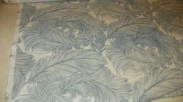Blue Off White Cotton Print Upholstery Fabric 1  Yard  R913 - $19.95