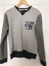 American Eagle Sweatshirt Pocket Floral Blue/Gray Men's S/P - $23.36