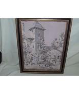 Antique French Tapestry Framed Village Scene 24x18 Art - $346.49