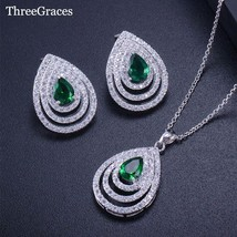 ThreeGraces Famous Brand Austrian Green Zircon Crystal Big Tear Drop Stud Earrin - $23.47