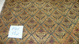 Gold Brown Print Chenille Upholstery Fabric 1 Yard  R164 - $39.95