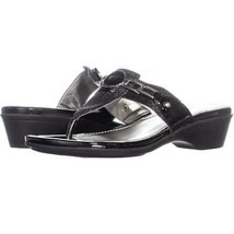 Marc Fisher Amina2 Thong Flip Flop Sandals 493, Black Multi, 8 US - $23.02