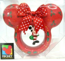 Enesco Mickey As Santa In Red Mouse Ears Christmas Decoupage Holiday Ornament - $9.28