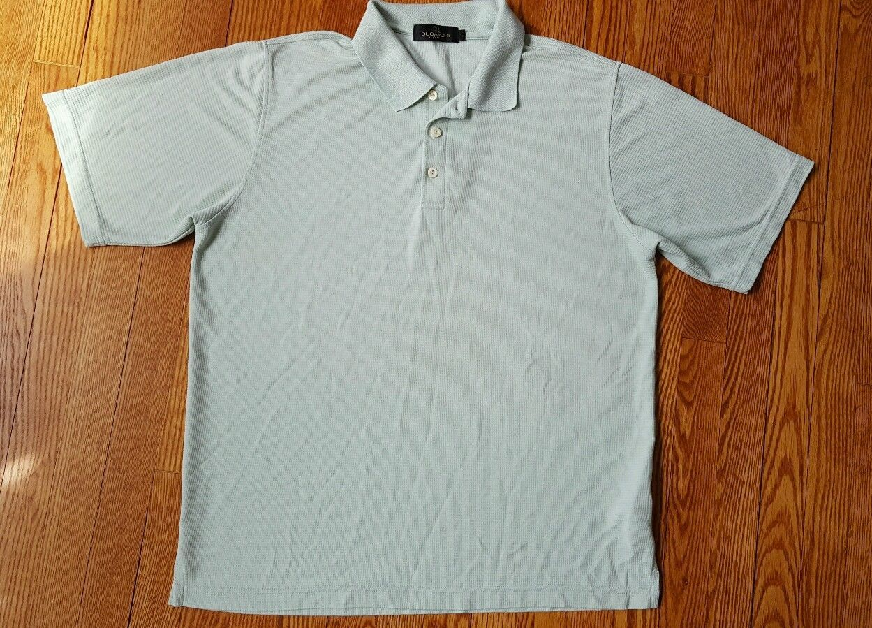 BUGATCHI UOMO Men's Golf Rugby Polo Shirt Short Sleeve Size Large Lime Green