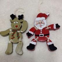 "Christmas Ornaments Lot Wooden Jointed 5"" Santa Reindeer 2 Painted - $9.49"