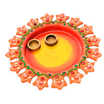 Wooden Puja Thali Flower Design Multicolored Festive Season Plate Gift I... - $38.95
