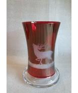Vintage ❤ Engraved Ruby FLASHED BOHEMIAN Buck  Deer Wood Scene Tumbler V... - $39.55
