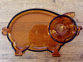 Tiara Indiana Glass Amber Pig Lunch Plate And Cup - $5.94