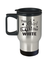 Cute WHITE Travel Mug Personalized Name WHITE lovers gifts - $21.99