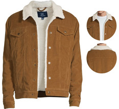 George Men's Casual Sherpa Lined Brown Corduroy Snap Button Trucker Jacket - S