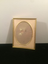 "Vintage 40s gold ornate 6 1/2"" x 8 1/2"" frame with gold edged oval mat"