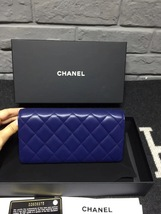 BNIB AUTH CHANEL BLUE QUILTED LAMBSKIN LARGE TRI-FOLD WALLET CLUTCH  image 2