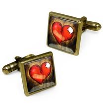 Love Hurts Broken Heart Antique Bronze Glass Emo Valentine Cufflink Set ... - $32.39