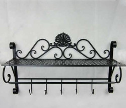 Iron Craft Wall Hanging Towel Rack Bathroom Kitchen Storage Shelf Organizer - $67.18