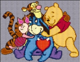 Latch Hook Rug Pattern Chart: Pooh Family - EMAIL2u - $5.75