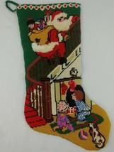 Santa Needlepoint XMAS Stocking Finished Dog 3D Toys Sack Fireplace Mult... - $34.99