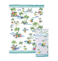Paradise Tea Towel Ashdene Tropical 100% Cotton Palm Trees Hibiscus Flow... - $14.84