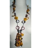 VTG Tribal Wood Beaded Baltic Amber Wood Dangle Necklace - $99.00