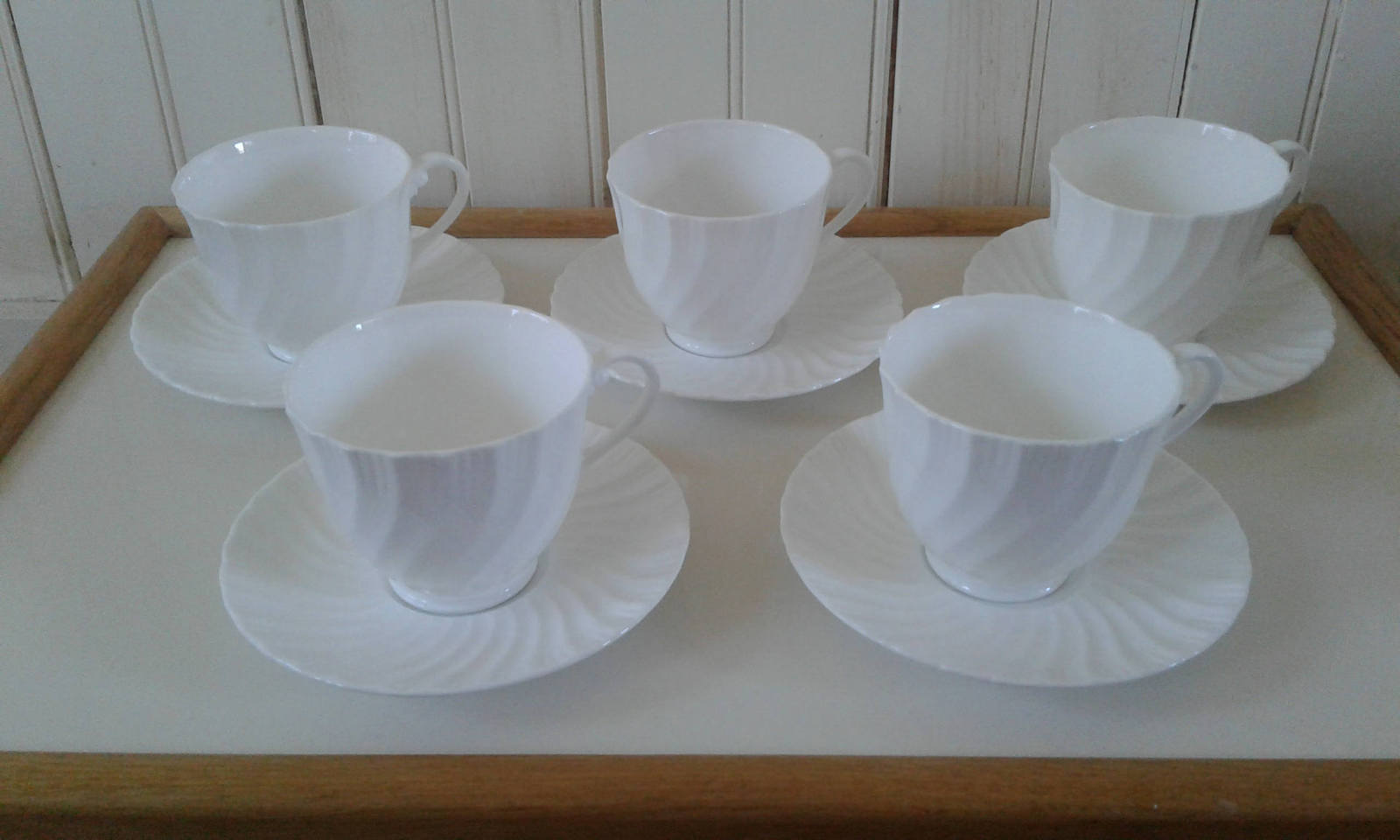 Set of Four (4) Royal Worcester SNOWFLAKE Footed Cups with Saucers