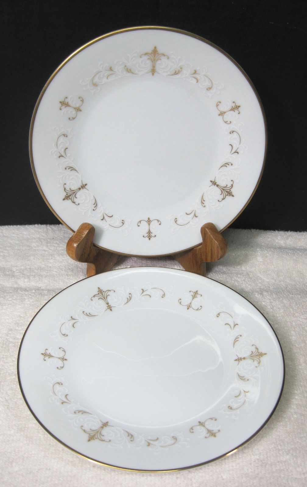 Primary image for Noritake Courtney #6520 1964-1980 Gold White Scroll Bread Butter Cake Plate 2PC