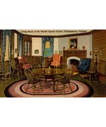 LINEN POSTCARD- LIVING ROOM OF THE MARKET SQUARE TAVERN, WILLIAMSBURG VA... - $3.92