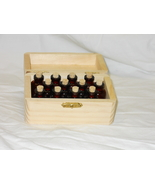 wooden box of 10 tiny amber bottles CW reenacting LARP SCA - $10.00