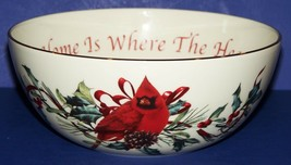 """STUNNING LENOX WINTER GREETINGS 7"""" BOWL HOME IS WHERE THE HEART IS CARDINAL - $15.98"""