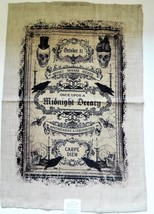 Curiosities Tea Towel Halloween Theme Steampunk Raven Poe Skulls - $18.80