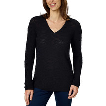 Calvin Klein Jeans Women's Textured Knit V-Neck Sweater, Black, Size L - $14.84