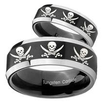 His Hers Multiple Skull Pirate Beveled Brush Black 2 Tone Tungsten Engag... - $79.98