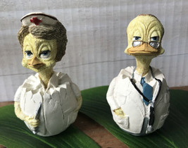 1989 Enesco Ducks in Eggs Retired Male Doctor and Female Nurse Figures Thailand - $18.61