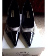 """STEVE MADDEN """"Classie"""" black-and-white, Dior-like pattern patent SHOES N... - $49.99"""