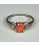 Women's Ring Size 10.25 Sterling Silver .925 Oval Glass Faux Stone Orang... - $13.36