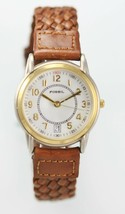 Fossil Watch Mens Brown Leather Stainless Silver Gold Batt Date White Qu... - $33.46