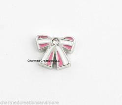 Silver Pink & White Bow Tie Floating Charm For Glass Memory Locket - $1.97