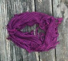 Boho Chic Purple/Pink/Magenta Handmade Knitted Crochet Scarf with Fringe... - $15.00