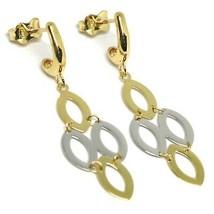 Tropfen Ohrringe Gelbgold und Weiß 750 18k, Ovale Glatte, Gebrochen image 1