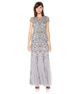 Adrianna Papell Women's Short Sleeve Beaed Gown With Godets - $197.97+