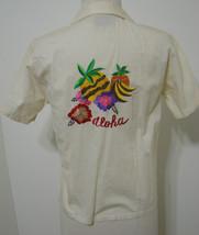 "PINOT NOIR Vintage Bowling Shirt Ecru India ""ALOHA"" Embroidered Hawaiian... - $134.99"