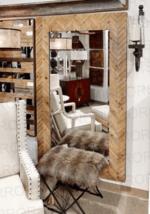 "XL Coastal Mod Farmhouse Wood Wall Leaner Mirror Full Length Transitional 81"" - $739.00"