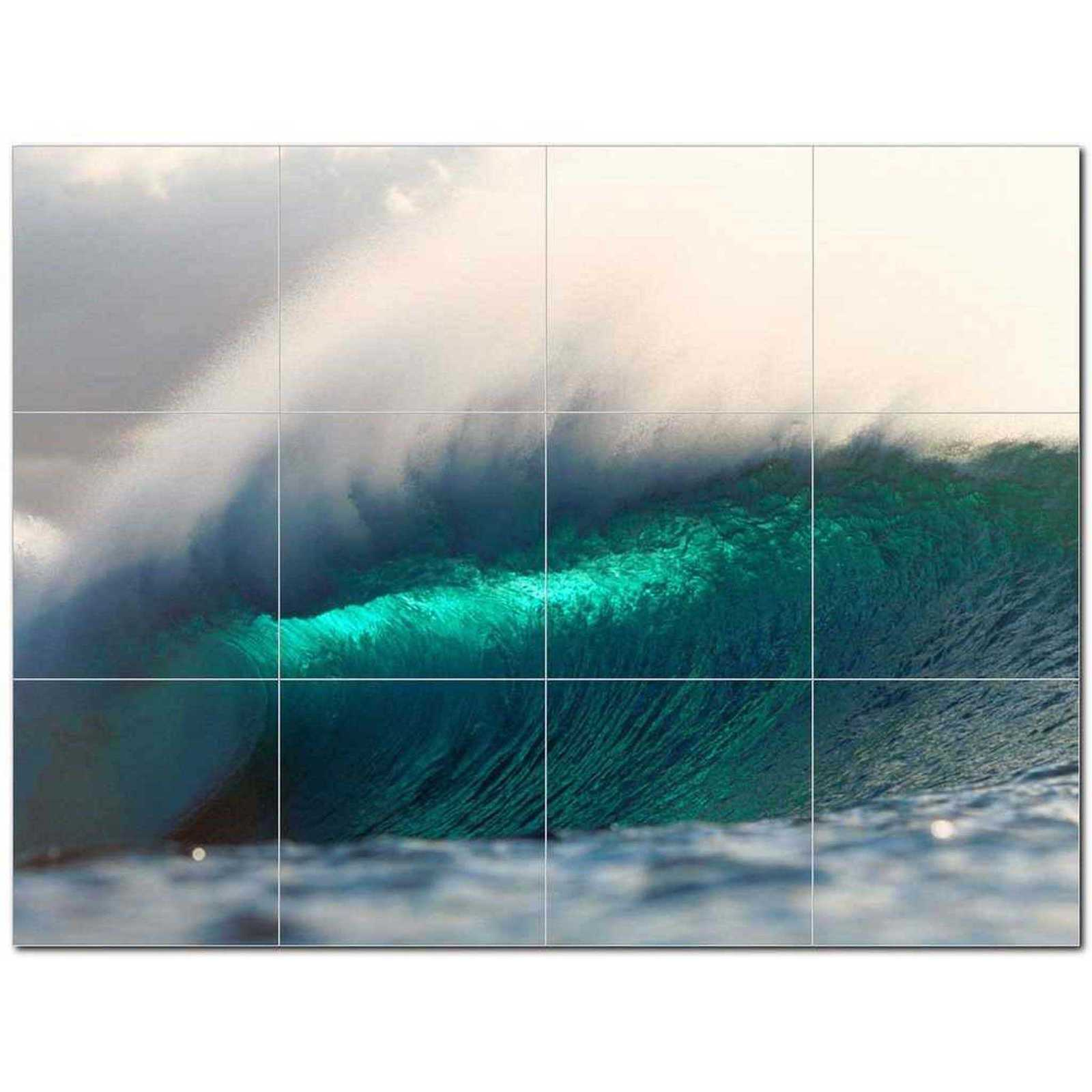 Primary image for Wave Photo Ceramic Tile Mural Kitchen Backsplash Bathroom Shower BAZ406295