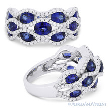 3.53 ct Oval Cut Sapphire & Diamond Pave 18k White Gold Right-Hand Fashi... - £2,405.89 GBP