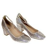 J Crew Women's Sophia Pumps Heels In Sequin Ankle Strap 6 F8484 Silver - $91.99