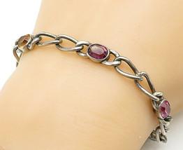 925 Sterling Silver - Vintage Multi-Gemstone Oval Link Chain Bracelet - ... - $51.33