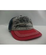 Budweiser King of Beers Hat Faded Red Blue Hook Loop Baseball Cap - $19.99