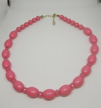 Vintage Robert Rose Pink Oval Beaded Necklace Gold Tone Extension Chain - $12.86
