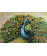 Peacock Original Oil Painting Palette Knife Impasto Green Bird Contemporary Art - $280.00