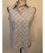 CHARTER CLUB Women's Plaid Collared Sleeveless Tank Top Shirt Size 6 - $0.98